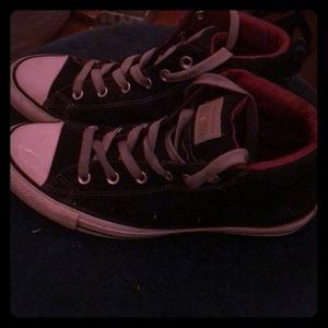 Converse 9.5 red insole hi tops grey laces